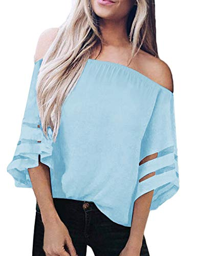 (TECREW Women's Off Shoulder 3/4 Bell Sleeve Chiffon Blouse Tops Casual Mesh Panel T Shirts)
