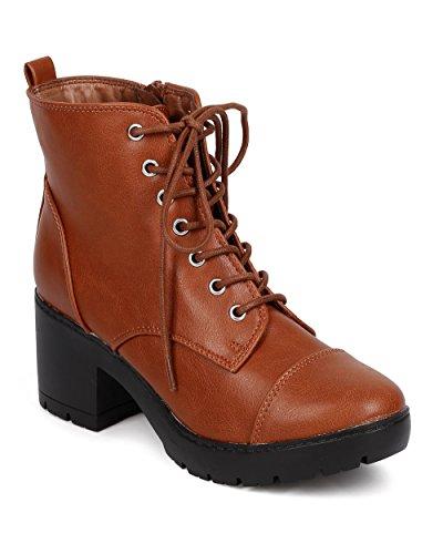 Breckelles DD71 Women Leatherette Cap Toe Block Heel Lace Up Combat Boot - Tan (Size: 8.5)