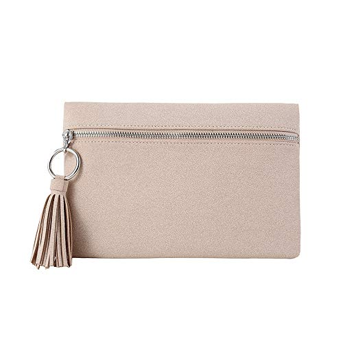 (Suede Clutch Purses Bags with Tassels for Women Clutches Pouch Casual Zipper Front Handbag Metal Ring)