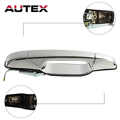 (AUTEX Exterior Rear Left Driver Side Door Handle Compatible with 2007 2008 2009 2010 2011 2012 2013 Cadillac Escalade GMC Sierra Chevy Silverado 1500 2500 3500 Chevy Tahoe Avalanche GMC)
