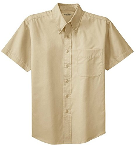 Clothe Co. Mens Short Sleeve Wrinkle Resistant Easy Care Button Up Shirt, Stone, S -