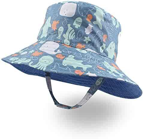 37d2a06caceb55 XIAOHAWANG Baby Boy Bucket Toddler Kids Sun Hat UPF 50+ Wide Brim Outdoor Beach  Caps