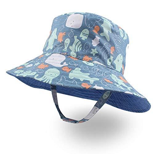 XIAOHAWANG Baby Boy Bucket Toddler Kids Sun Hat UPF 50+ Wide Brim Outdoor Beach Caps Play hat (Octopus, L(2-4 - Clothing Hats Kids