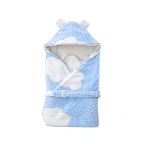 IBLUELOVER Super Soft and Warm Receiving Blanket for Newborn Infant Toddler Flannel Swaddling Blankets Hooded Sleeping Bag Nursery Receiving Blankets