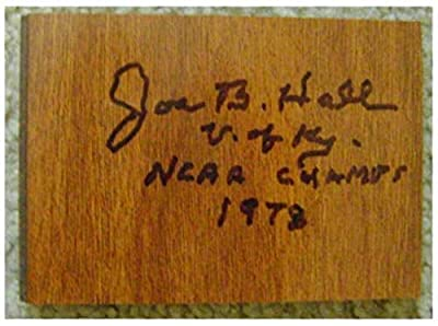 Joe B Hall autographed floor board inscribed 1978 NCAA Champs generic size 3x5 inches (University of Kentucky Wildcats Basketball Coach)