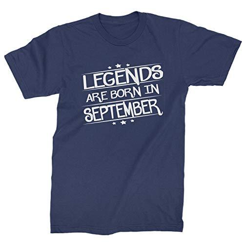 Legends Are Born Mens in September T-Shirt Medium Navy Blue ()