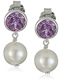 Rhodium Plated Sterling Silver Round 6mm and Pearl 8-9mm Bezel Set Stud Earrings