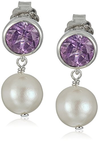 Sterling Silver Bezel Set Genuine Brazilian Amethyst and Freshwater Cultured Pearl Drop Stud Birthstone Earrings - Amethyst Pearl Jewelry