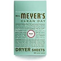 Mrs. Meyers Clean Day Dryer Sheets, Basil, 80 Count