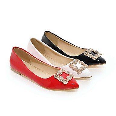 Cómodo y elegante soporte de zapatos de las mujeres pisos verano/Pointed Toe Piel Exterior/Oficina y carrera/casual soporte de talón brillante glitterblack/ rojo