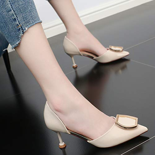 Thin Sandals Sexy Wild Pointy Heeled 7Cm Women Shoes KPHY Summer Comfortable High Beige Fashion Women'S Bow And RgYxtqw