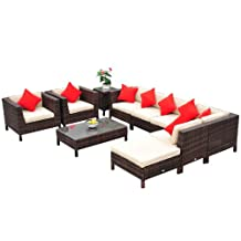 Outsunny 9pc Rattan wicker Furniture Lounger Set Sectional Sofa Table Chair w/ Cushions