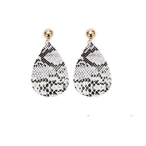 GoodCorsetMall Fashion Leather Earring Teardrop White and Black Snakeskin pattern embossed Leather Dangle Drop Stud Earrings Jewelry Gift for women