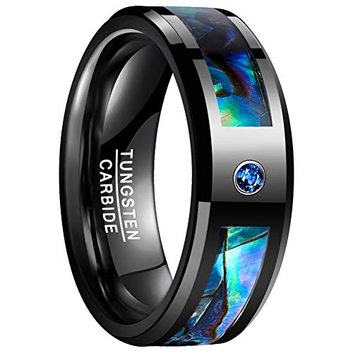 VAKKI Mens 8mm Blue CZ Tungsten Carbide Rings Abalone Shell Engagement Band Comfort Fit Size 8 (Womens Tungsten Engagement Rings)