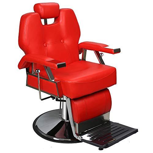 BarberPub Heavy Duty Recline Barber Chair All Purpose Hydraulic Salon Chairfor Hair Stylist Spa Beauty Shampoo Equipment 8706 (Red) (Recline Shampoo Chair)