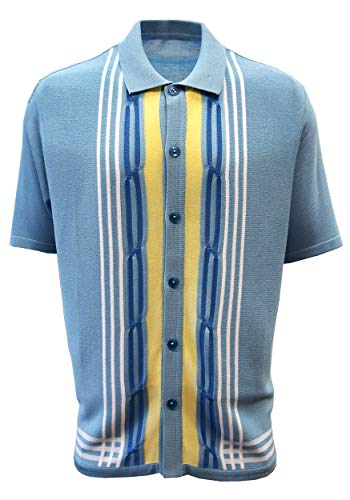 Edition S Men's Short Sleeve Knit Shirt - California Rockabilly Style: Multi Stripes (X-Large, -