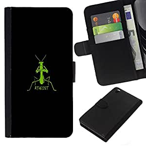 NEECELL GIFT forCITY // Billetera de cuero Caso Cubierta de protección Carcasa / Leather Wallet Case for HTC DESIRE 816 // Ateo Mantis religiosa divertido
