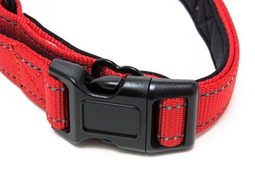 Happilax Collar perro mediano acolchado, ajustable y reflectante, rojo: Amazon.es: Productos para mascotas