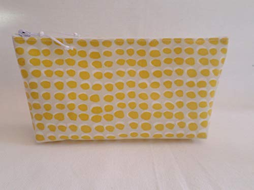 c214ba3939e5 Handmade Oilcloth Make Up Cosmetic Bag - John Lewis Citrine Luna Spot Fabric