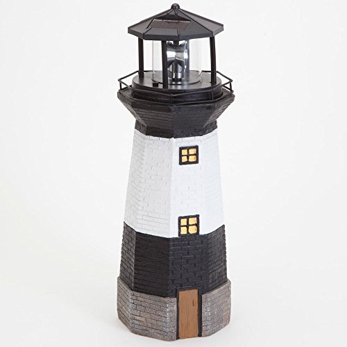 Bits and Pieces - Solar Lighthouse Outdoor Sculpture - Garden Décor and Lighting - Hand Painted Durable Resin - Illuminate your Patio, Yard or Poolside With This Decorative Solar Light Statue
