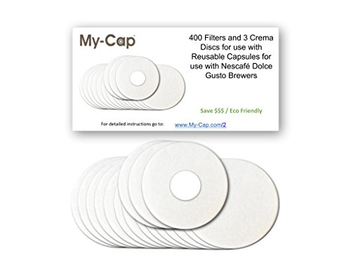 My-Cap's 400 Filters and 3 Crema Discs for use with Reusable Capsules for use with Nescafé Dolce Gusto Brewers | Compatible with Mini Me, Genio, Piccolo, Esperta and Circolo