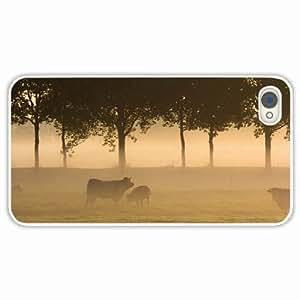 iPhone 4/4s 4S Black Hardshell Case bulls grass fog forest trees White Desin Images Protector Back Cover