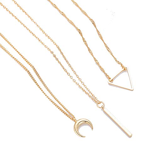 Layered Pendant Gold Star Necklace - 3PCS Gold Layering Chain Choker for Women's Gifts
