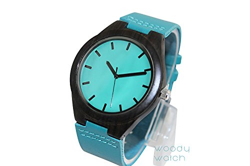 Woody Watch Blue Wooden Rosewood Wristwatch with Aqua Face and Blue Genuine Leather Strap Japanese Quartz