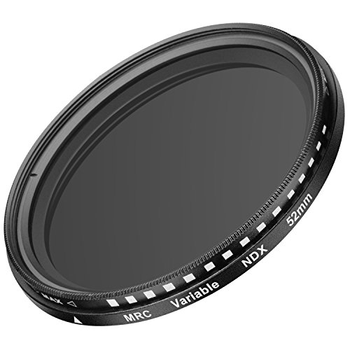 Neewer 52MM Ultra Slim ND2-ND400 Fader Neutral Density Adjustable Lens Filter for Camera Lens with 52MM Filter Thread Size, Made of Optical Glass and Aluminum Alloy Frame