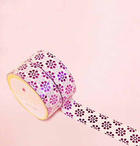 Blooming Shapes in Pink Foil Washi Tape for Planning • Scrapbooking • Arts Crafts • Office • Party Supplies • Gift Wrapping • Colorful Decorative • Ma…