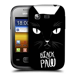 AIYAYA Samsung Case Designs Black Paw Printed Cats Protective Snap-on Hard Back Case Cover for Samsung Galaxy Pocket S5300