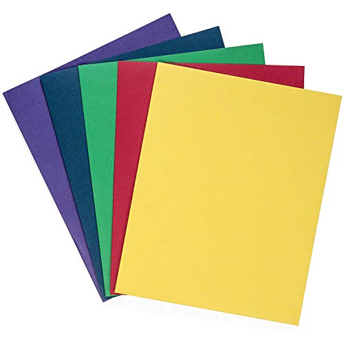 (Blue Summit Supplies 50 Two Pocket Folders, Designed for Office and Classroom Use, Assorted 5 Colors, 50 Pack Colored 2 Pocket)