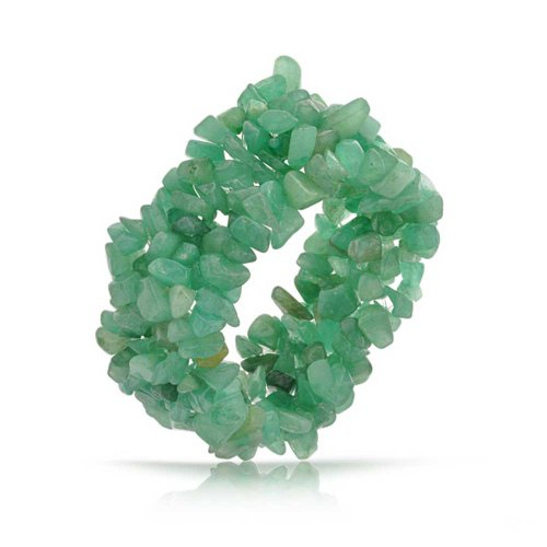 (Bling Jewelry Green Aventurine Crystal Chip Stone Wide Chunky Cluster Multi Strand Stretch Bracelet for Women)