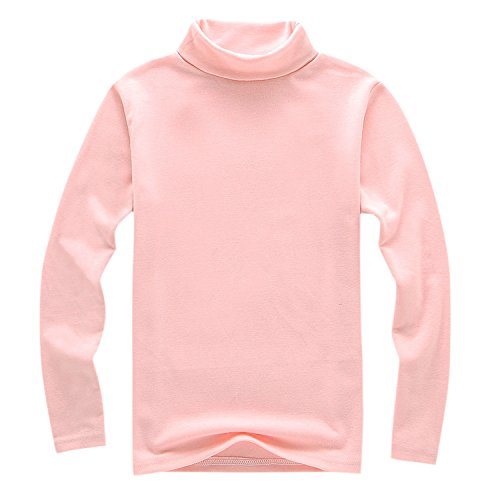 Evelin LEE Girls Basic Solid Color Turtleneck T-Shirt Tops L