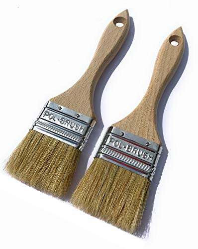 2 Pack - 2 inch European Paint Brushes - Natural Bristle/Wood Handle - for Professional & Amateur Paint Job; for All Latex & Oil Base Paints, Stains, Varnish, Shellac & - Inch Brush 2 Varnish