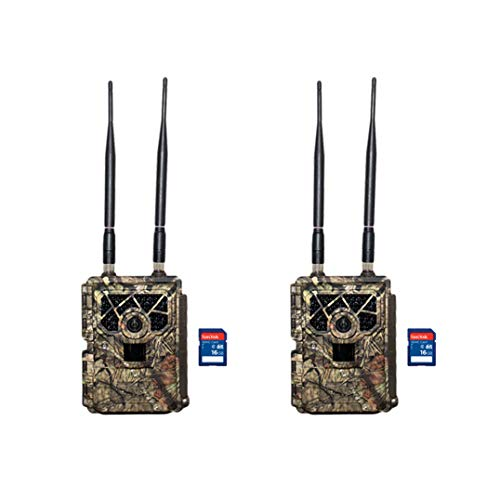 Covert Code Black Wireless LTE Camo Hunting Game Trail Camera, 2 Pack + SD Cards