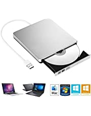 Aluminium Lecteur/Graveur CD et DVD-RW, Lecteur et Graveurs optiques externes, Ultra-Mince Compatible pour Toutes Les Mac OS systèmes, Windows XP, Vista, 7, 8, 10, Blanc
