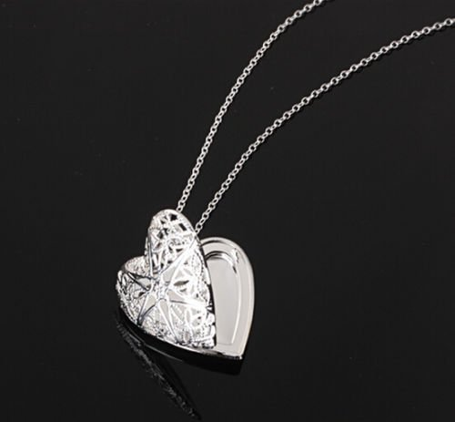Lovers Locket - Cute Silver love heart necklace pendant locket chain Couple lover valentine gift LOVE STORY