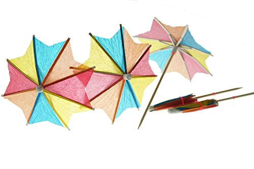 Bilipala 50 PCS Colorful Paper Umbrellas, Cocktail Parasol Picks, Cupcake Toppers Picks