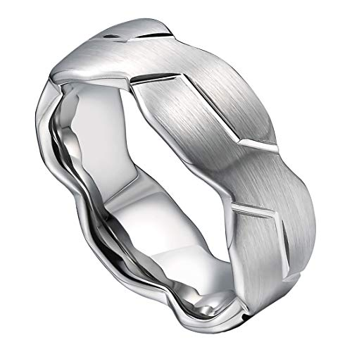 DOUX 8mm Mens Silver Tungsten Carbide Ring Brushed Infinity Knot Pattern Wedding Band Comfort Fit High Polished(12) -
