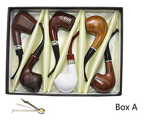 - Smoking pipe, set of 6pcs, smoking pipe gift box, smoking pipe of steel & acrylic, tobacco pipe (Box A)