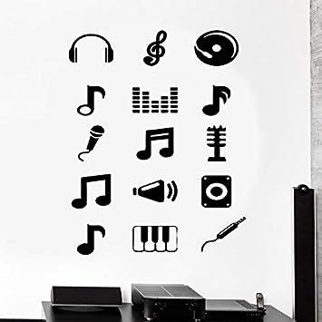 Tatuajes de pared Música Melodía Notas Musicales Guitarra ...