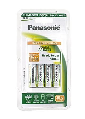Panasonic (1 Pack) Incluye 4 Cargador de batería (Pilas AA, 1900 ...