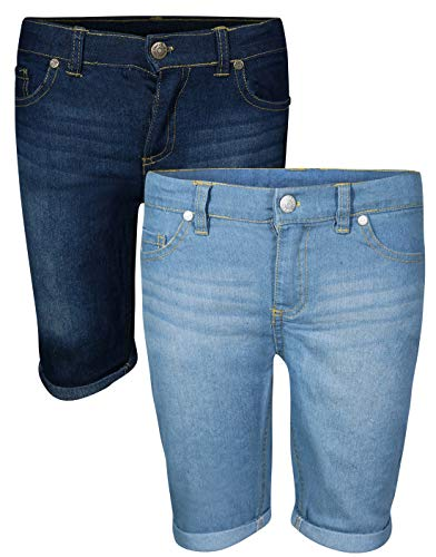 - Real Love Girl\'s Bermuda Denim Shorts (2 Pack) Dark & Light with Cuff, Size 10'