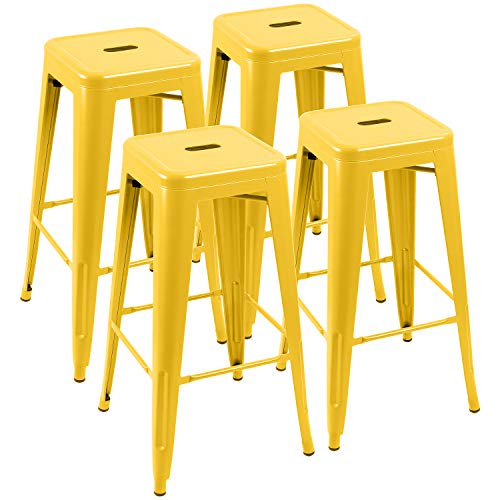 Square Backless Bar Stool - Furniwell 30 Inches Metal Bar Stools High Backless Tolix Indoor-Outdoor Stackable Barstool with Square Counter Seat Set of 4 (Yellow)