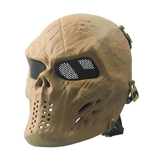 Egmy Men Full Face Skeleton Warrior Face Mask Ghost Mask Halloween (Khaki)