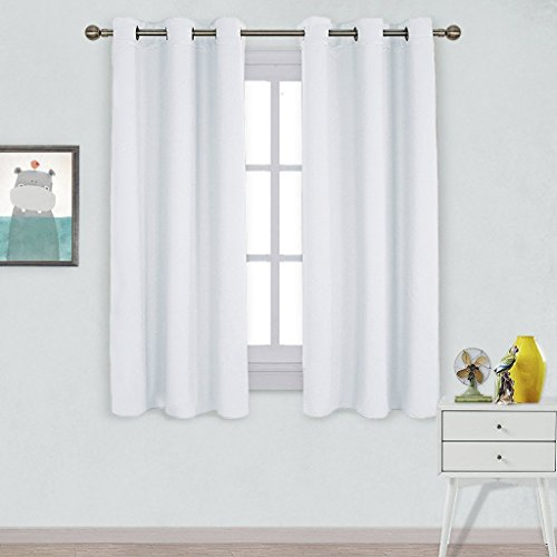 NICETOWN Home Décor Energy Saving Solid Grommet Room Darkening Draperies Curtains for Living Room (Set of 2 Panels, 42' x 63', Silver White)