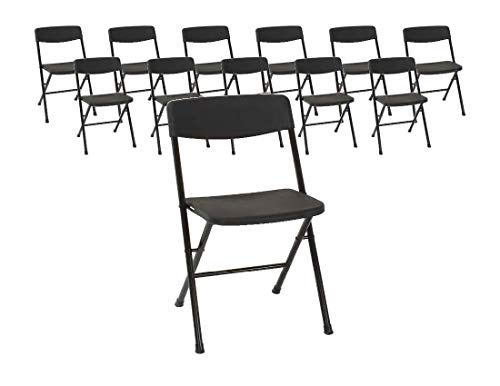 COSCO Resin Molded Seat and Back Black Folding Chair, 12PK ()