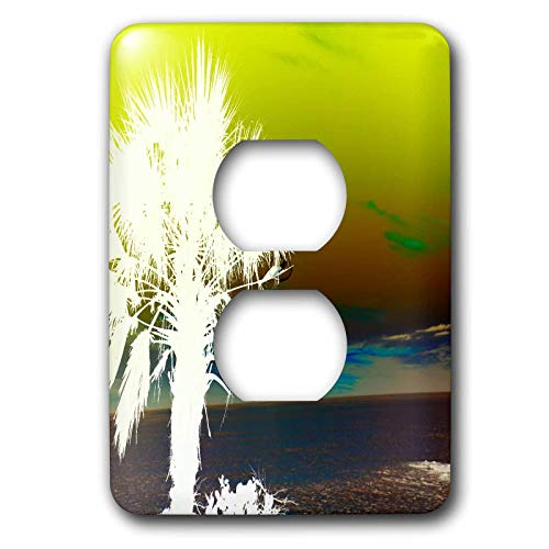 3dRose lens Art by Florene - Abstract Beach And Palms - Image of White Palm On Sarasota Florida Beach With Lime Sky - 2 plug outlet cover (lsp_322680_6) (Sarasota Outlets)