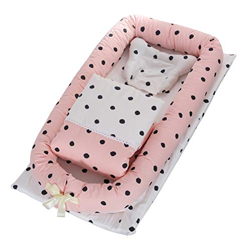 DOLDOA Baby Bassinet for Bed Portable Baby Lounger for Newborn,100% Cotton Newborn Portable Crib,Breathable and Hypoallergenic Sleep Nest Newborn Lounger Pillow for Bedroom/Travel (Round dot)